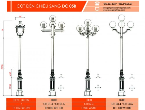 trụ đèn chiếu sáng DC 05 B