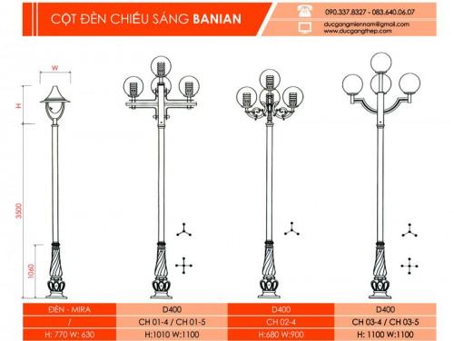 trụ đèn sân vườn banian